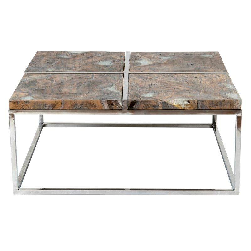 Stainless Steel And Wood Coffee Table: Uptown Icy Wood Coffee Table With Stainless Steel Base