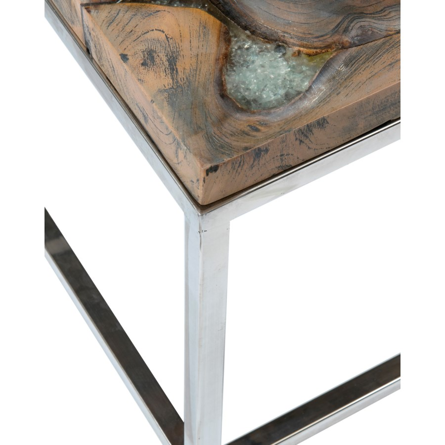 Stainless Steel And Wood Coffee Table: (SP) Uptown Icy Wood Coffee Table With Stainless Steel