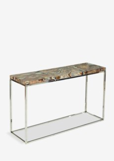 """47"""" Uptown Icy Console With Reclaimed Teakwood And Recycled Glass On Stainless Steel Cube Base (47x1"""
