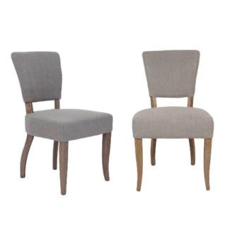 Logan Dining Chair 2pcs/box.  Fabric: Taupe linen texture(20.5x24.5x35.6)