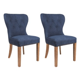 (LS) Paulie Upholstered Dining Chair-Blue w/ Wood Legs 2pcs/box (23X23X36)..