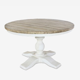 (LS) Chauncey Round Pedestal  Dining Table with  Reclaimed Fir Top (51x12x30)..