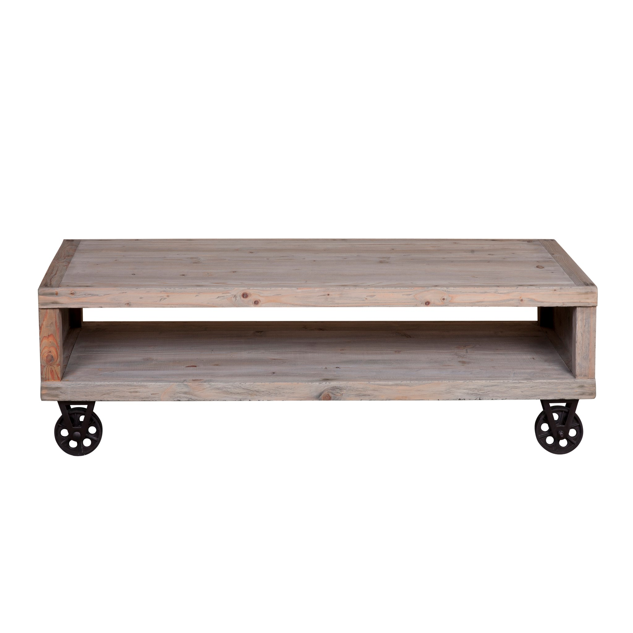 (LS) Cologne Soft Industrial Coffee Table With Metal Castors (K/D)