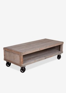 (LS) Cologne Soft industrial coffee table with metal castors (K/D)..Solid pine wood/ metal casto...