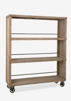 (LS) Cologne Large Soft industrial bookcase wih 3 shelves and metal castors (K/D)..Solid pine wood/