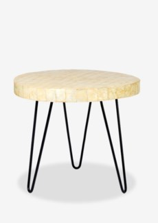 (LS) Capiz Round End Table With Iron legs-Linen Capiz ......