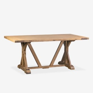"(LS) Farmhouse 71"" solid pine wood dining tablepine woodfinish: rustic natural(71X38X30.3)"