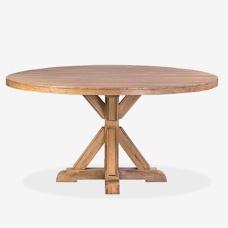 "(LS) Farmhouse 60"" round solid pine wood dining tablepine woodfinish: rustic natural(60X60X30)"