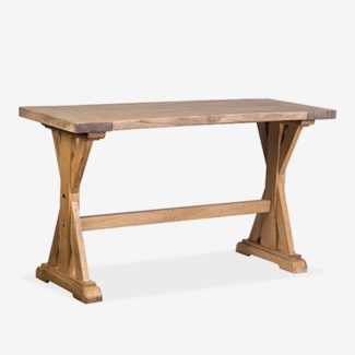 (LS) Farmhouse solid pine wood counter height tablepine woodfinish: rustic natural(63X24X35)