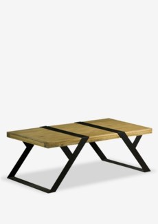 (LS) Malibu Coffee Table with metal accent and base..(48X24X17)..