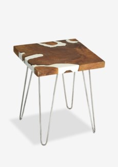 (LS) Natura White Resin Side Table Square w/ Four Legs (16.5x16.5x21)..