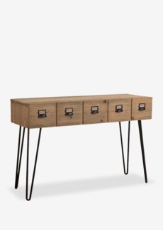 (LS) Parsons console table with 2 drawer with metal accents (K/D) - reclaimed solid wood..Reclai...