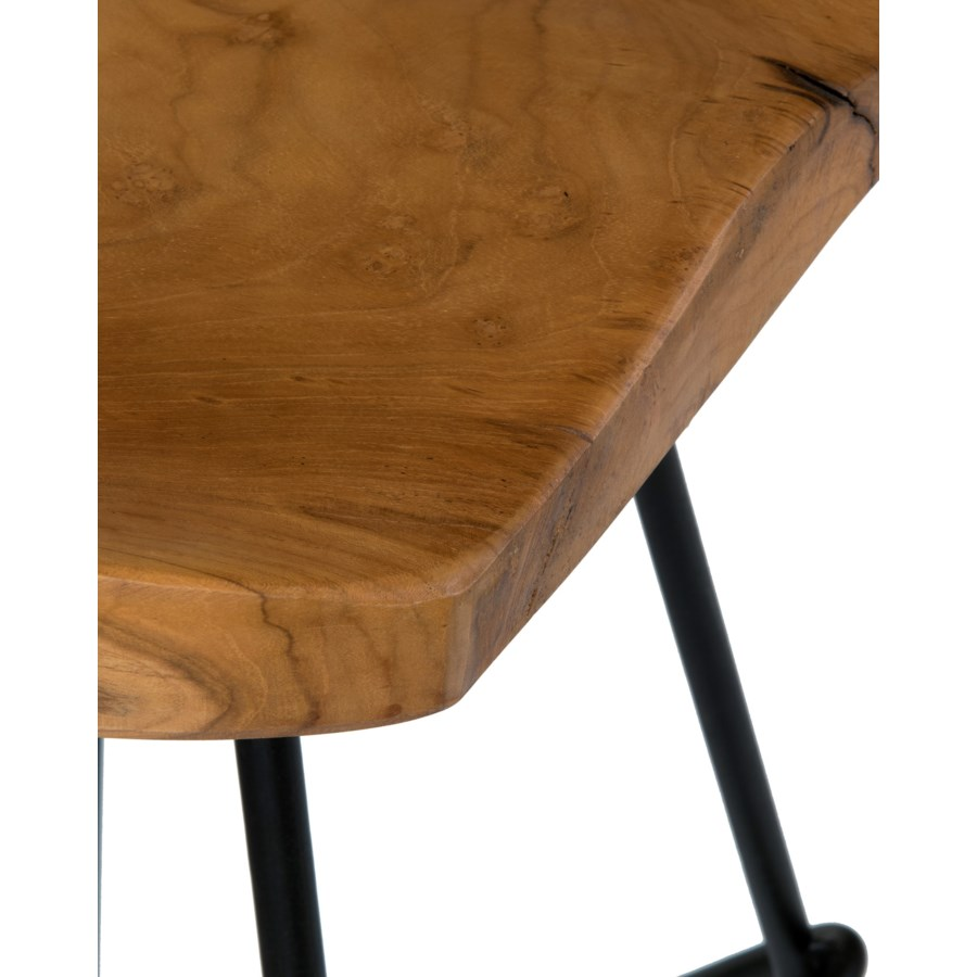 Sallie Teak Barstool with Metal Legs..(16X16.5X30)..