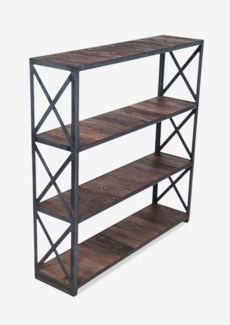 """(LS) Sydney 47"""" tall bookcase w/ vintage wood shelves and metal frame-exotic wood-vintage..(47X12X48"""