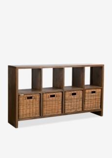 "(LS) Thomas 61"" Console Bookcase w/ 4 Rattan Drawers..(61X14X35.5).."