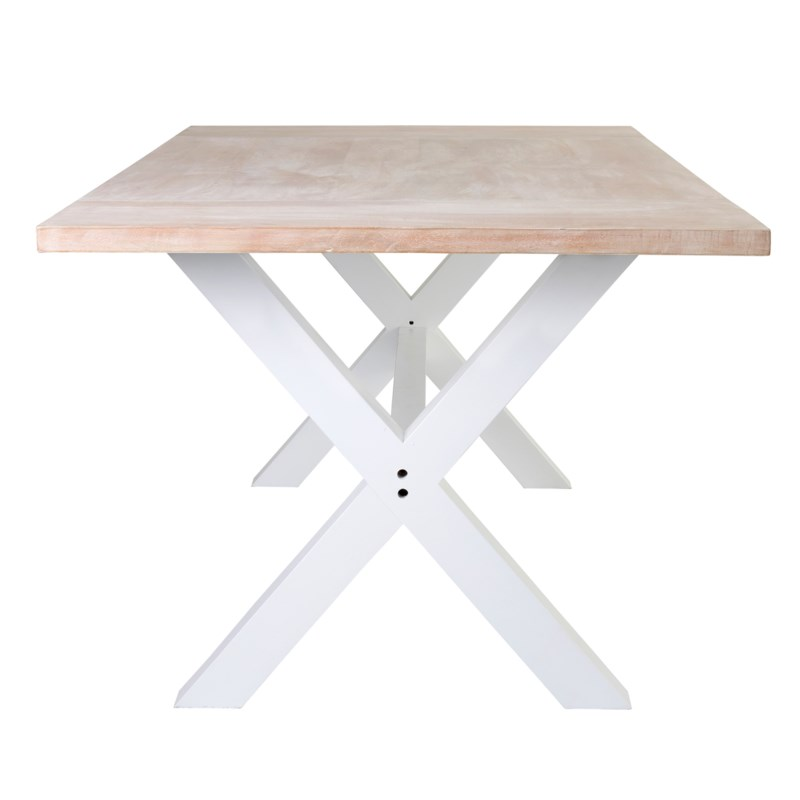 Townson Solid Dining Table w/ Cross Base - White Wash Top & White Base(78.5x39x30) **2 BOXES per IT