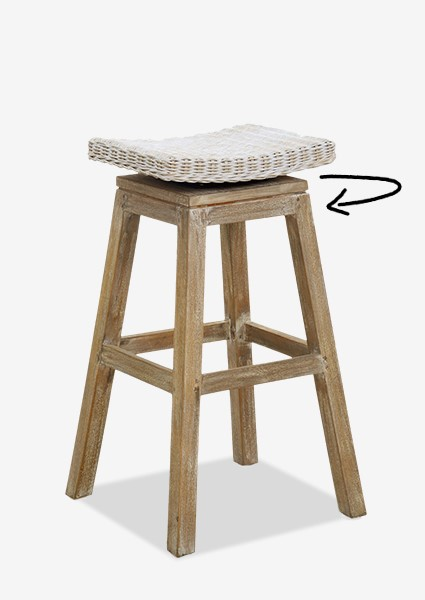Merveilleux Carmen Barstool White Aged Finish (17X17X29.5) (Assemby Required)