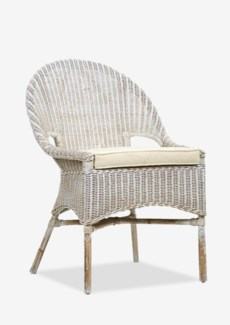 (LS) Daphnie Slipper Rattan Arm Chair-White Aged Finish (24X25X35)