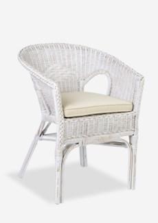 Daphnie Tub Rattan Arm Chair-White Aged Finish (24X23X31)