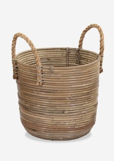 Round Basket Storage Medium Size with Jute Handle Kubu Grey (13X12X15)