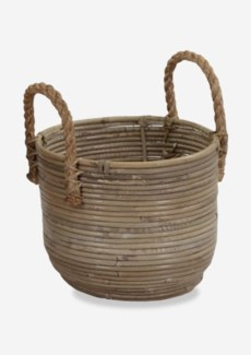 (SP) Round Basket Storage Small Size with Jute Handle Kubu Grey (11X9X12)