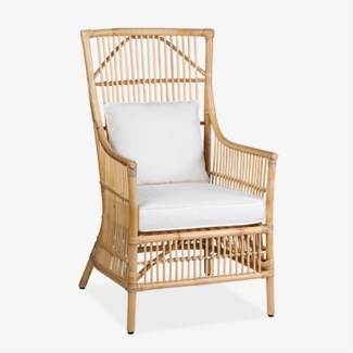 Winston Rattan High Back Arm Chair Natural (24x27x43)