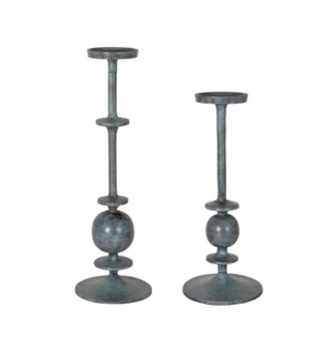"Oren 18"" and 14"" Pillar Candleholder Set 2, Bronze Patina (MOQ 2 sets)"