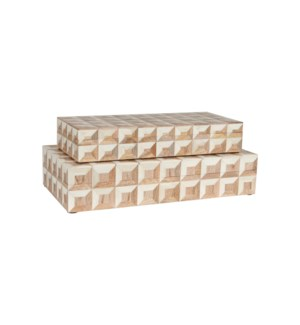 Naima Decorative Box, White Set/2 (16x8x3.75 / 14x6x2 1/2""