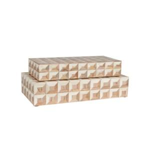Naima Decorative Box, White Set/2 (16x8x3.75/14x6x2.5)