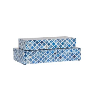 Rhea Decorative Box, Blue Set/2 (16x8x3.75/14x6x2.5)