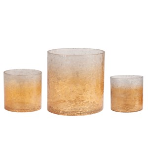 Rhys Amber Glass Votives, Set/3 MOQ2