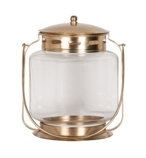 Jara Round Candle Holder, Antique Brass