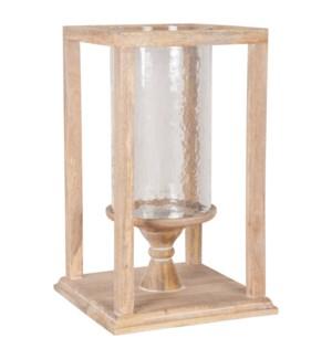 "Soleil 20"" Wood & Glass Hurricane Lantern"