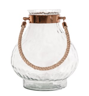 "Aurelia 13"" Glass Candle Holder/ Rope Handle, Clear"