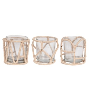 Amine Jute & Metal Votive Holders, Set of 6