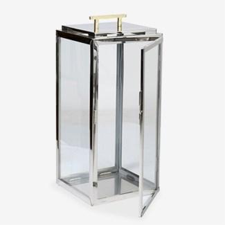 "(LS) 20""H Polished Nickel Metal Lantern (11x11x20)"