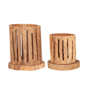 Pele Teak Candle Holder SET