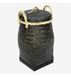 Palermo Round Basket with Lid, Black Wash