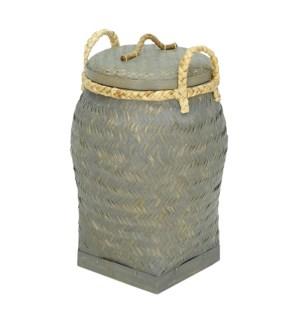 Palermo Round Basket with Lid, Grey Wash