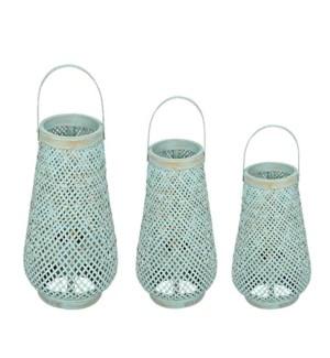 Nola Round Lanterns, Blue Wash, Set 3
