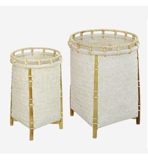 Lucca Round Baskets-Set/2, White Wash
