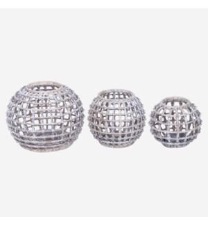 Hive Set of 3 Lanterns, Grey White Wash