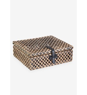(LS) Decorative rattan Box - Natural Brown (12x10x4)