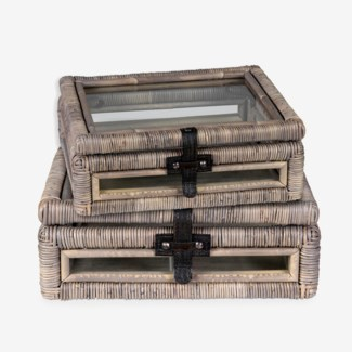 Decorative glass document Box with rattan frame accents set-2 - Natural grey (16x10x16.5/11.4x10x4)