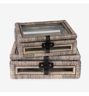 Decorative glass document Box with rattan frame accents set-2 - Natural grey (16x10x5/11...