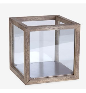 Square Wood Lantern - Vintage Grey