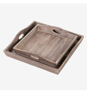Sammie Wooden Tray Set (Set of 2) - Brown Wash