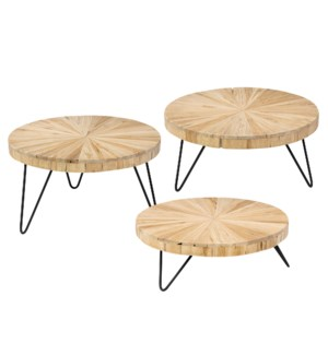 Radial Wood Risers, Set of 3
