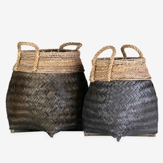Nile Woven Baskets - Set of 2 - Black