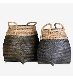 Nile Woven Baskets - Set of 2 - Black(2 boxes per item)